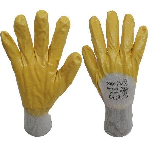TOP NH2330 nitril mártott pamut védőkesztyű, sárga/fehér, 9