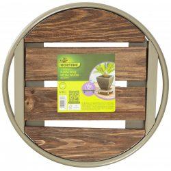 FLORA ROLL METAL WOOD virágalátét fémből és fából szürke/barna  O 0,35