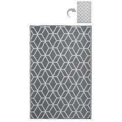 Kültéri szőnyeg, szürke-fehér kocka mintával OC25